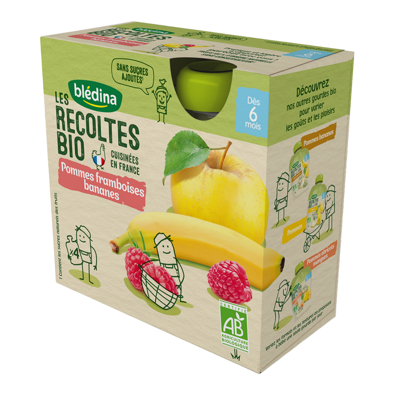 Les récoltes Bio Gourdes Pommes Framboise Bananes - 4x90g