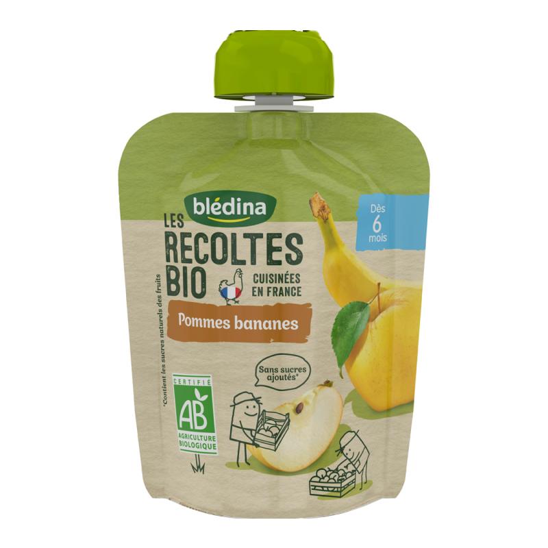 Les récoltes Bio Gourdes Pommes Bananes - 4x90g