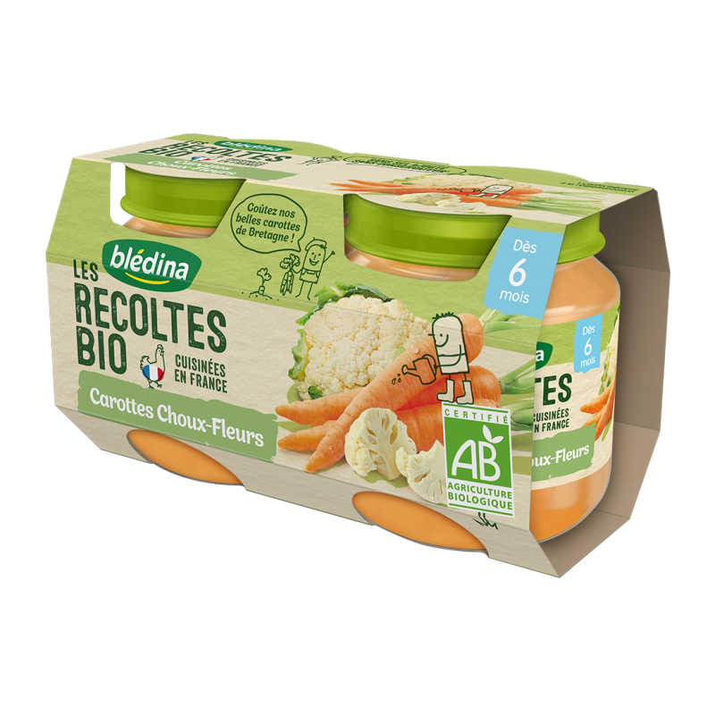 Les récoltes Bio Carottes Choux-Fleurs - 2x130g