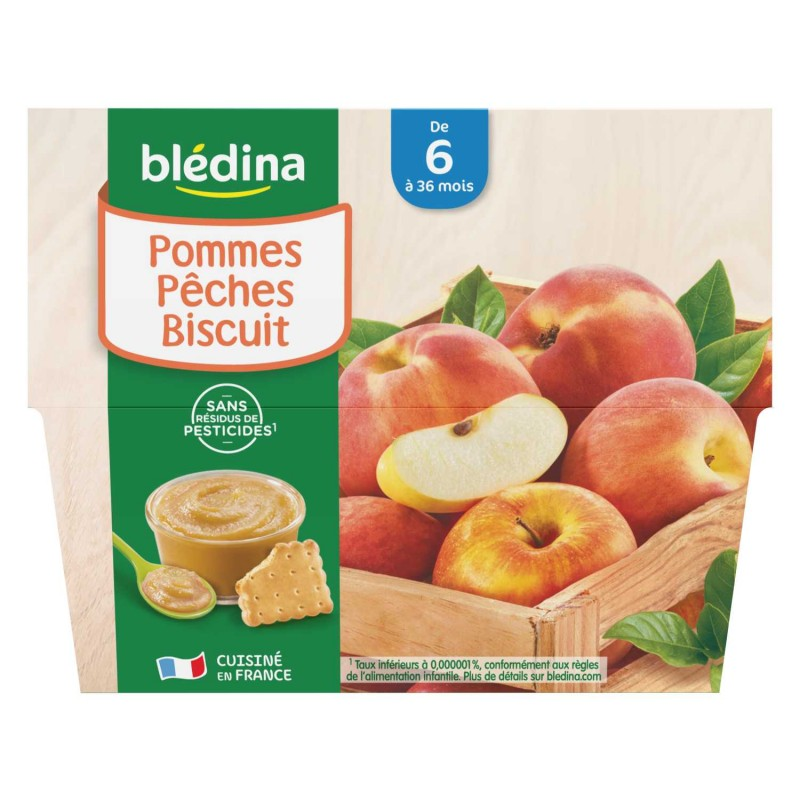 Coupelles Pommes Pêches Biscuit