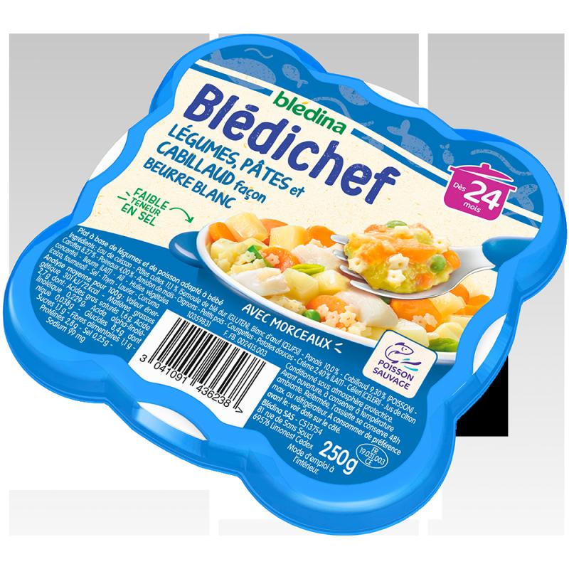 Blédichef  Légumes, pâtes et cabillaud façon beurre blanc