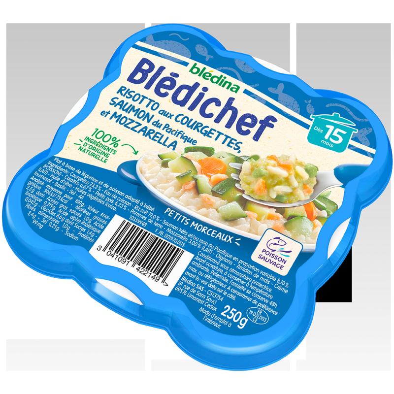 Blédichef  Risotto aux courgettes, saumon du Pacifique et mozzarella