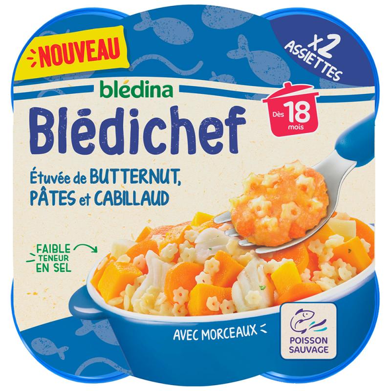 Blédichef - Etuvée de butternut, pâtes et cabillaud - 2x250g