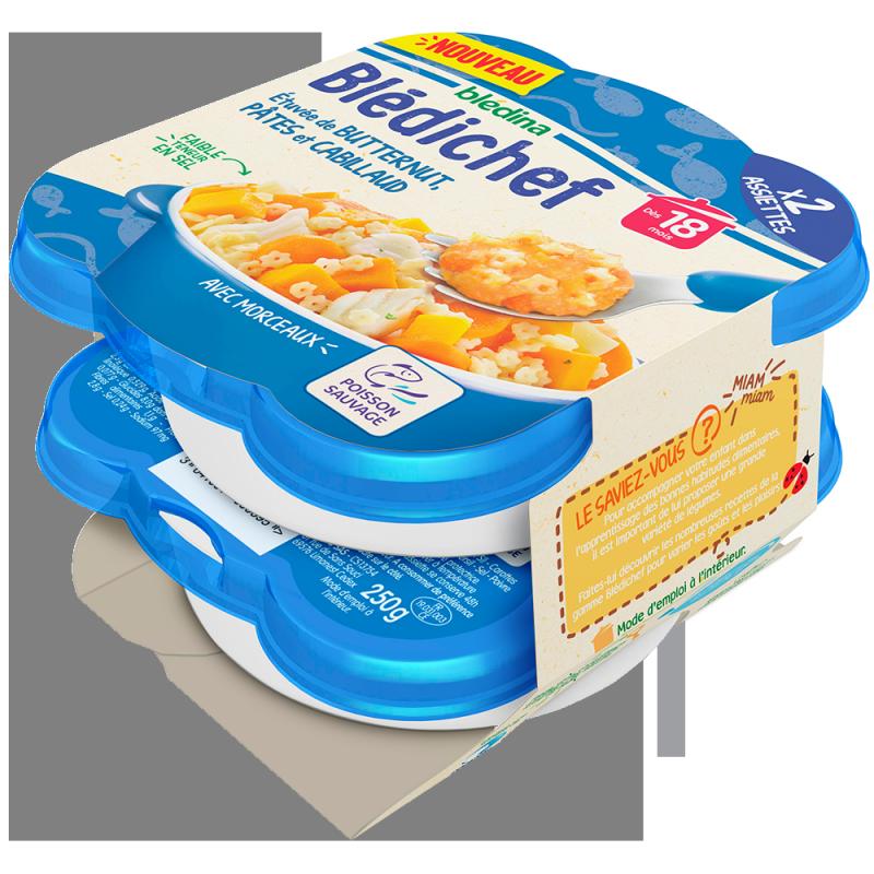 Blédichef Etuvée de butternut, pâtes et cabillaud