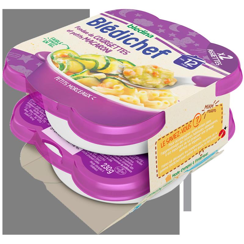 Blédichef Fondue de courgettes et petits macaroni