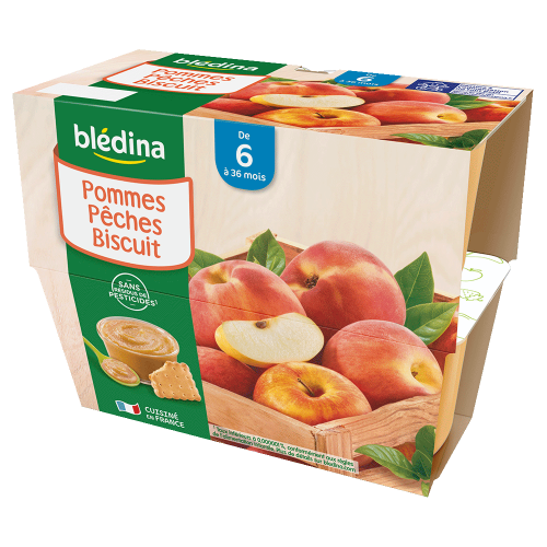 Pack Coupelles Fruits Pommes Pêches Biscuit
