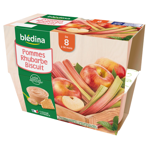 Pack Coupelles Fruits Pommes Rhubarbe Biscuit