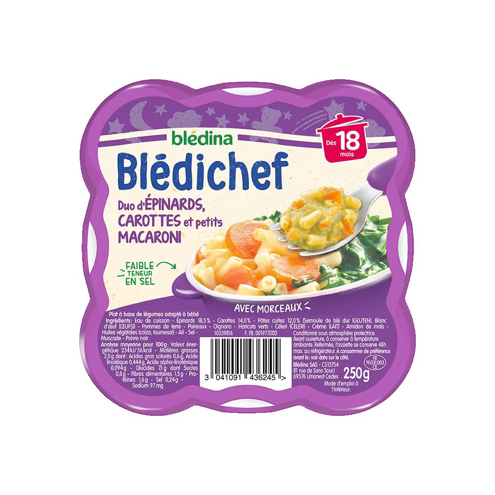 Pack Blédichef Duo d'épinards carottes et petits macaroni