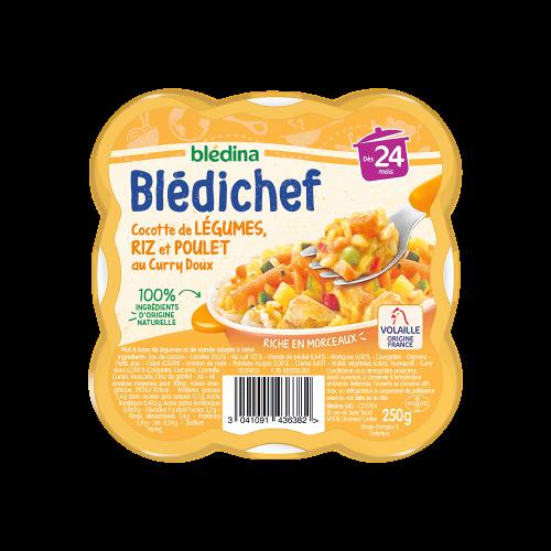 Pack Blédichef Cocotte de légumes, riz et poulet au curry doux