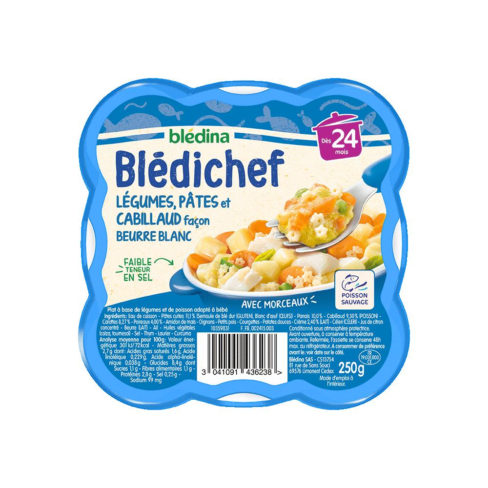 Pack Blédichef Légumes, pâtes et cabillaud façon beurre blanc