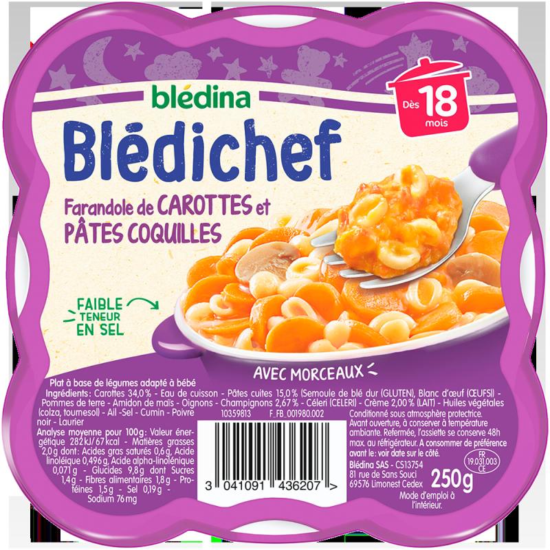 Blédichef Farandole de carottes et pâtes coquilles