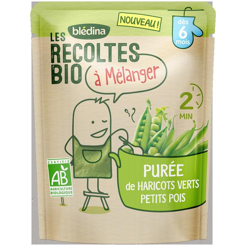 Les récoltes bio à mélanger Purée de Haricots Verts & Petits Pois