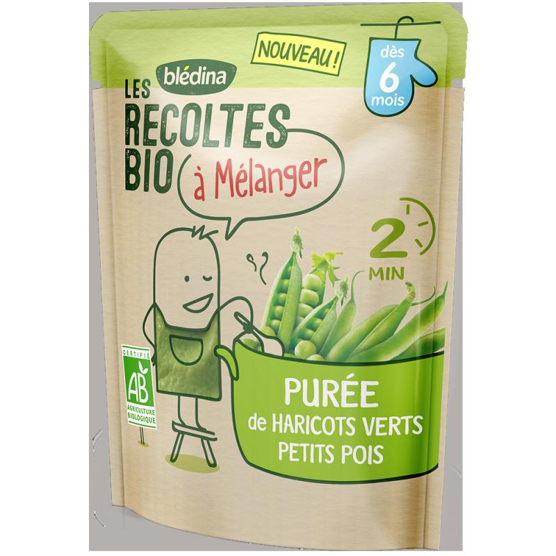 Purée de Haricots Verts & Petits Pois Les récoltes bio à mélanger