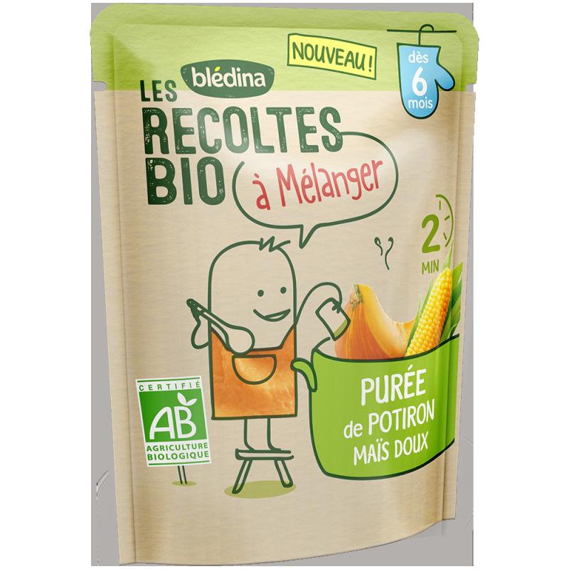 Les récoltes bio à mélanger Purée de Potiron Maïs