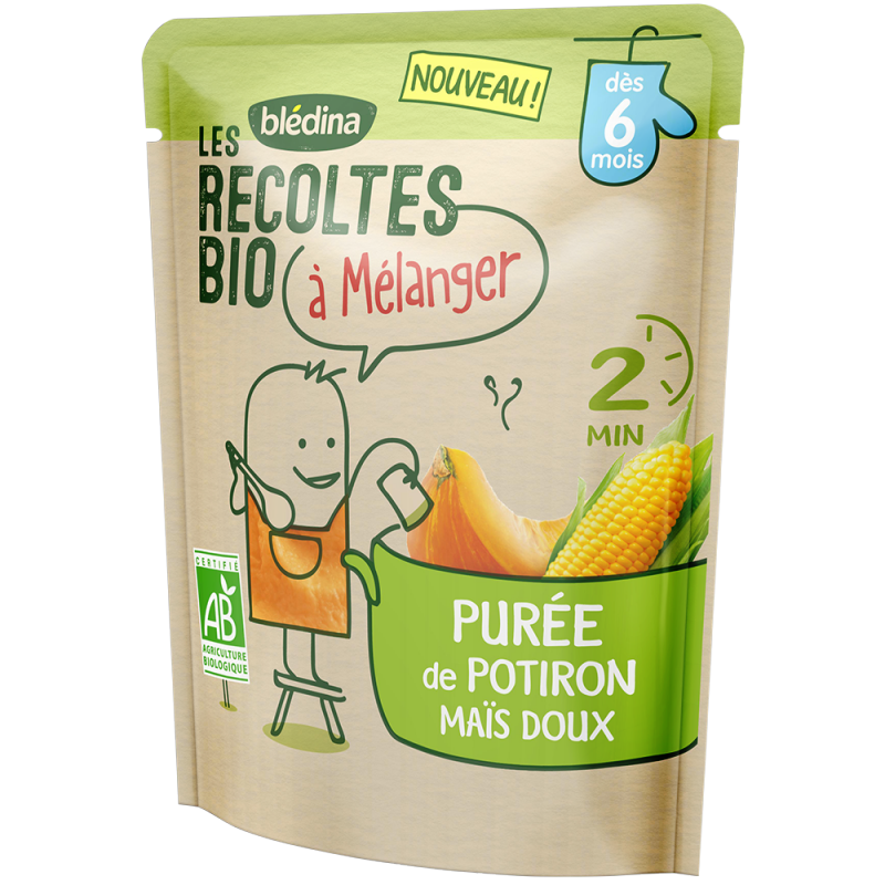 Purée de Potiron Maïs Les récoltes bio à mélanger