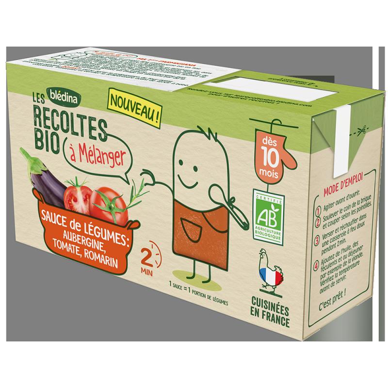 Sauce de légumes aubergine tomate romarin Les Récoltes Bio à mélanger