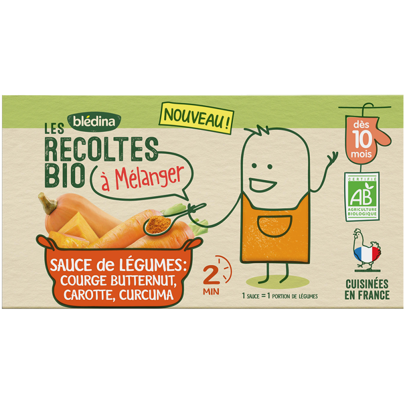 Les Récoltes Bio à mélanger Sauce de légumes Courge Butternut, Carotte, Curcuma