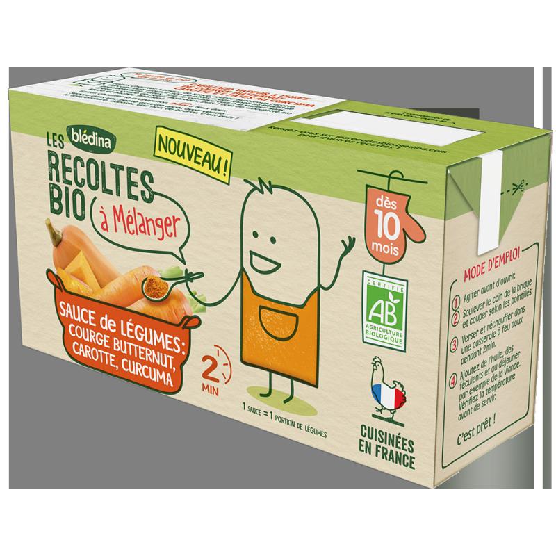Sauce de légumes Courge Butternut, Carotte, Curcuma Les Récoltes Bio à mélanger