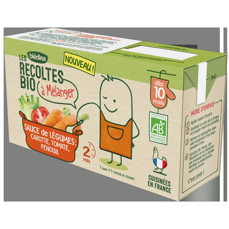 Sauce de légumes carotte, tomate, fenouil Les Récoltes bio à mélanger