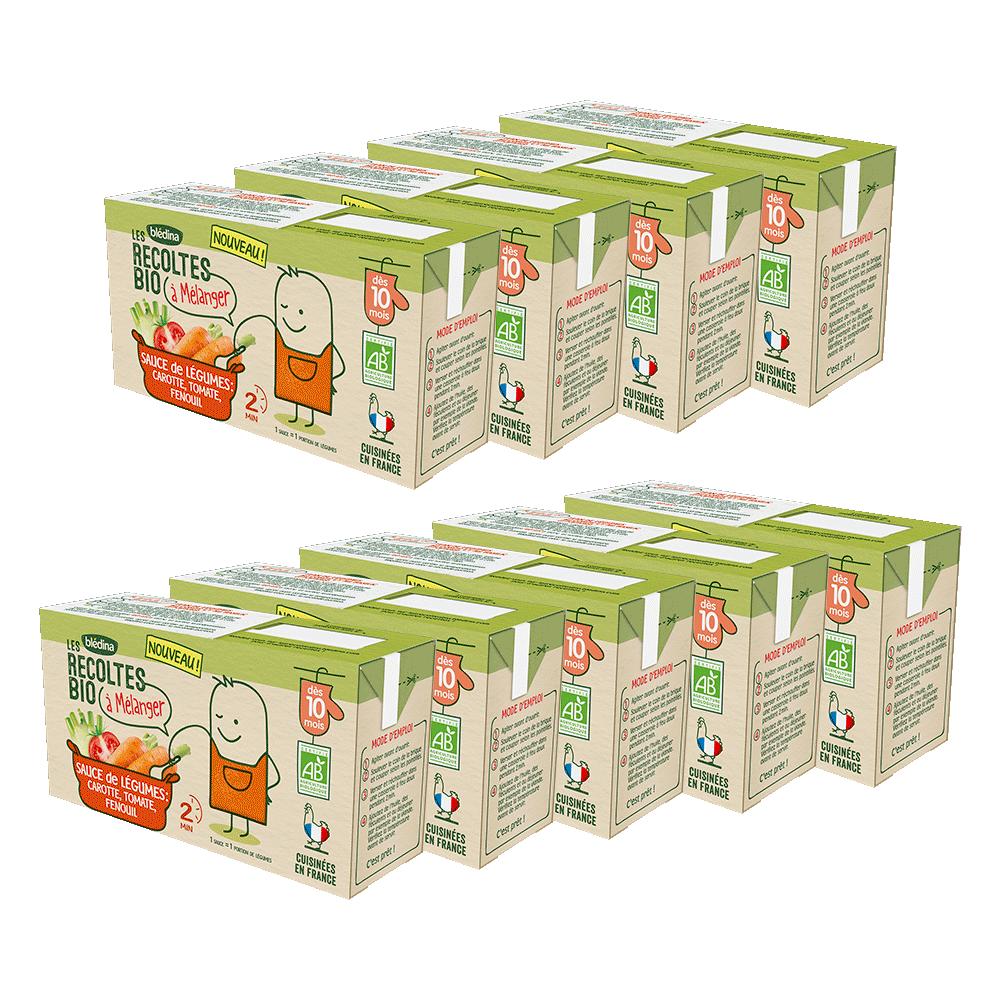 Pack Les récoltes Bio à mélanger Sauce de légumes carotte, tomate, fenouil