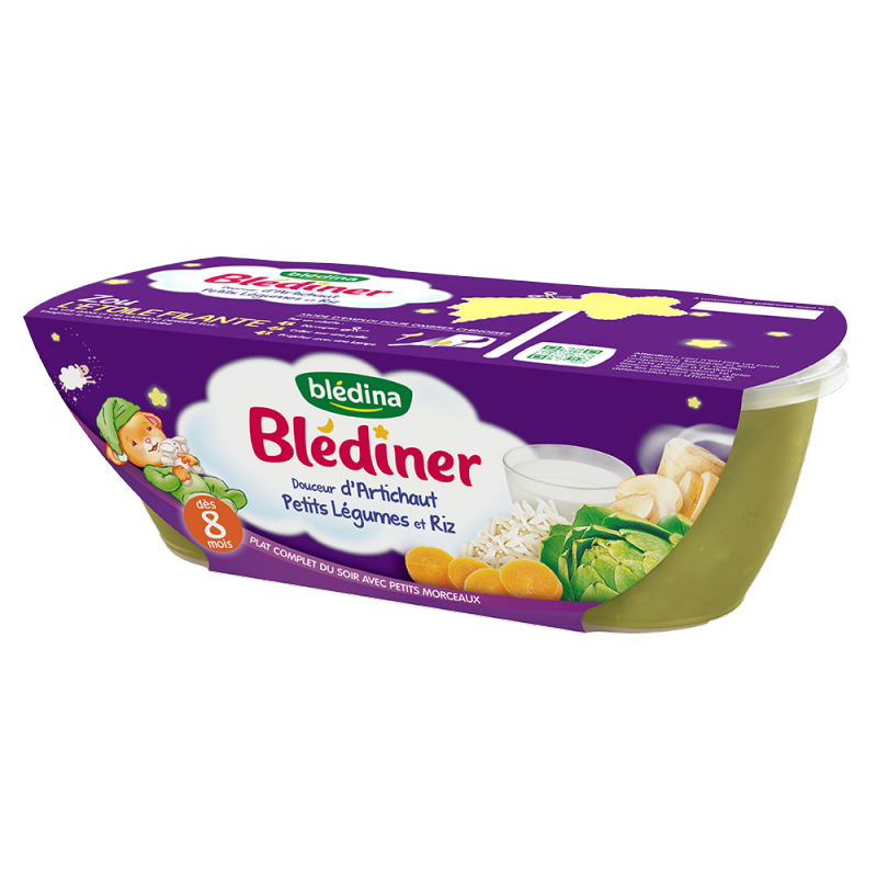 Blédîner - Bol Douceur d'Artichaut, Petits Légumes et Riz - 2x200g