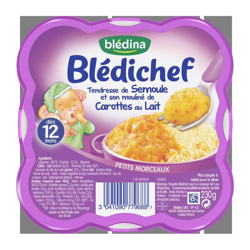 Pack Blédichef Tendresse de Semoule mouliné de carottes au lait - 9x230g