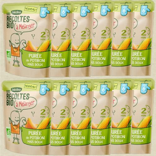 Pack Les récoltes bio à mélanger Purée de Potiron Maïs
