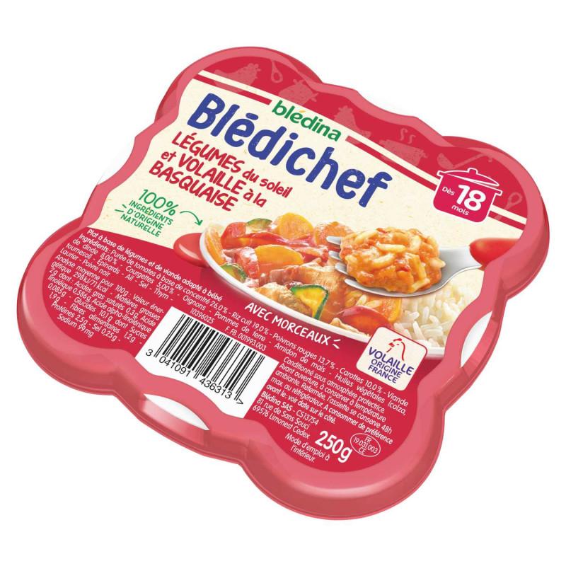 Blédichef - Légumes du soleil et volaille à la basquaise - 250g