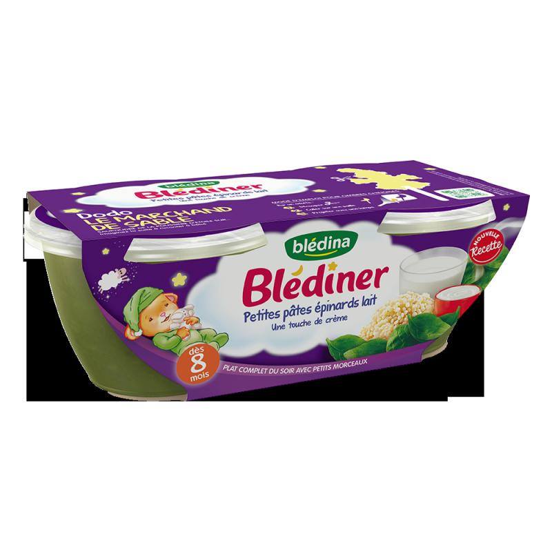 Blédîner - Petites Pâtes Epinards Lait une touche de Crème - 2x200g