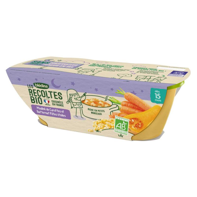 Les récoltes Bio Mouliné de Carottes et Butternut Pâtes étoiles - 2x200g