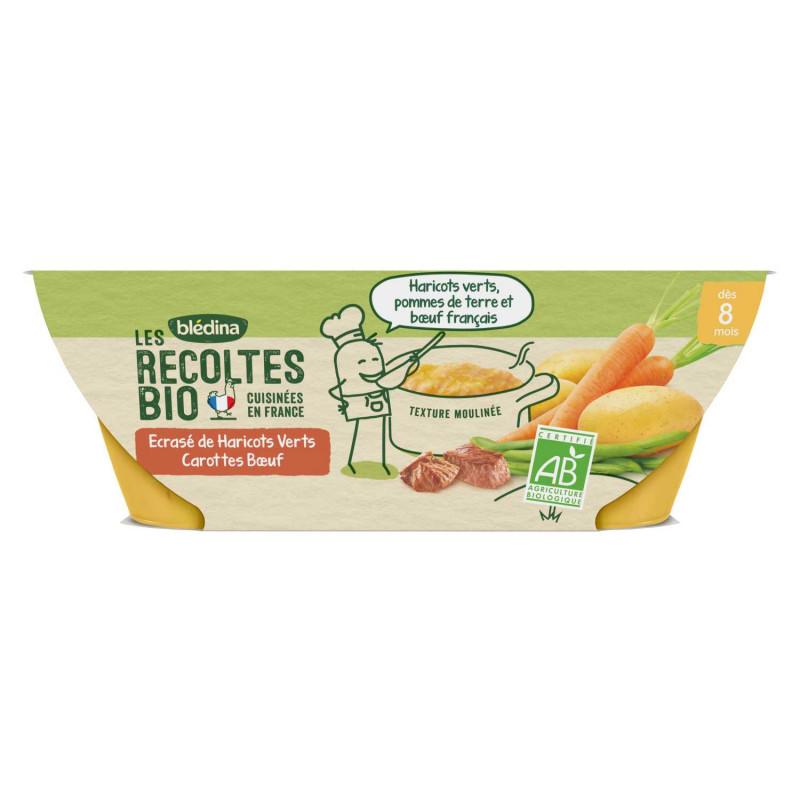 Les Récoltes Bio Ecrasé de Haricots Verts Carottes Bœuf