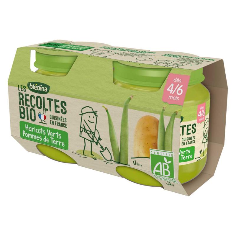 Les récoltes Bio - Pots Haricots verts, Pommes de terre - 2x130g