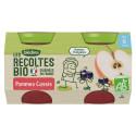Les récoltes Bio - Pommes Cassis - 2x130g