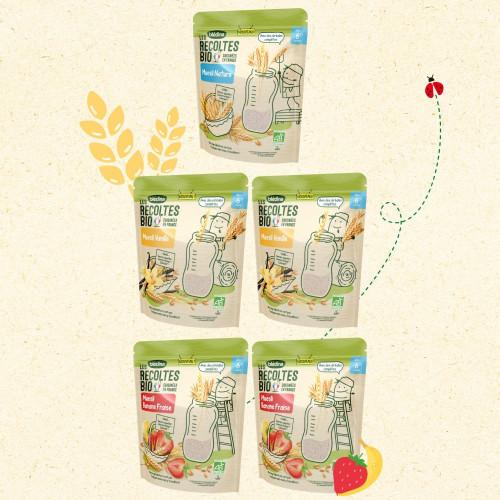Lot x5 - Les Récoltes Bio - Muesli Nature, Banane Fraise et Vanille - dès 6 mois