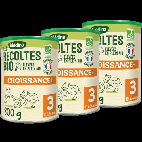 Blédina Les Récoltes Bio Croissance en poudre à partir de 12 mois - Lot de 3x800 g