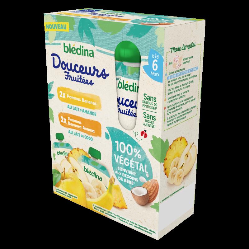 Gourdes Douceurs Fruitées 100% Végétal - 2 Pommes Bananes / 2 Pommes Bananes Ananas 4x90g - Dès 6 mois