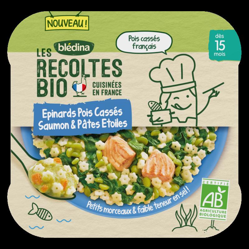 Les Récoltes Bio - Epinards Pois cassés Saumon & Pâtes Etoiles - 250g