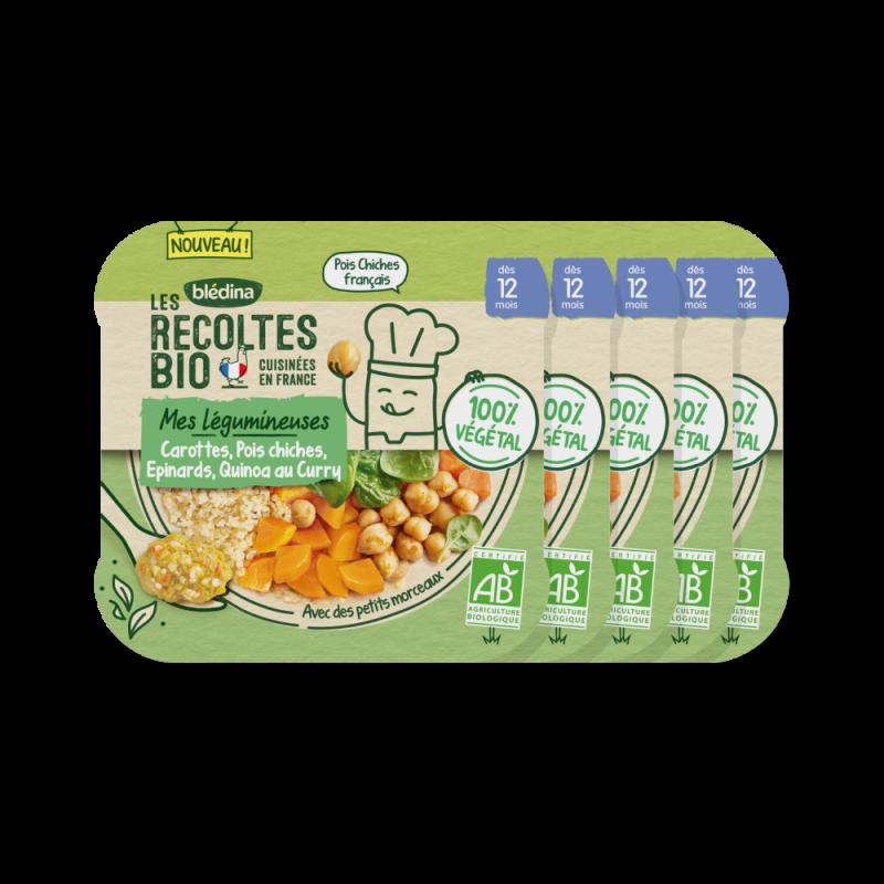 Lot x5 - Les Récoltes Bio - Carottes Pois Chiches Epinards et Quinoa au curry - Dès 12 mois