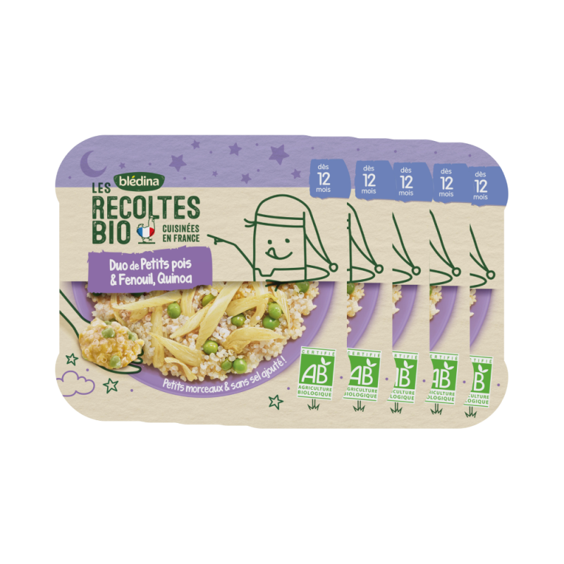 Les Récoltes Bio - Petit plat Bio - Duo de Petits pois et Fenouil, Quinoa - 230g