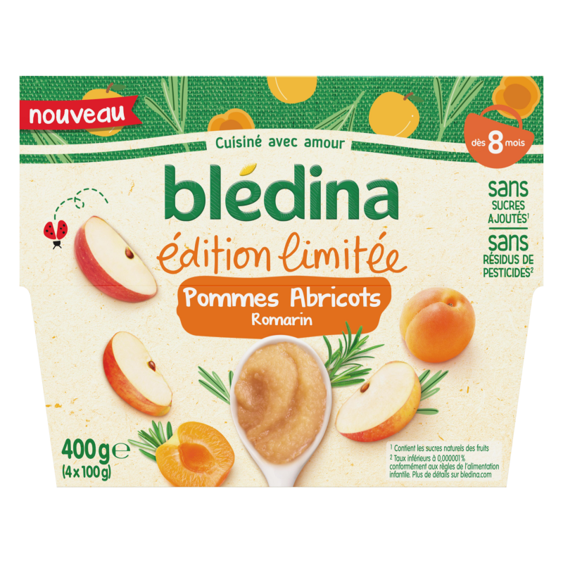 Coupelles Edition Limitée Pommes Abricots Romarin - 4x100g