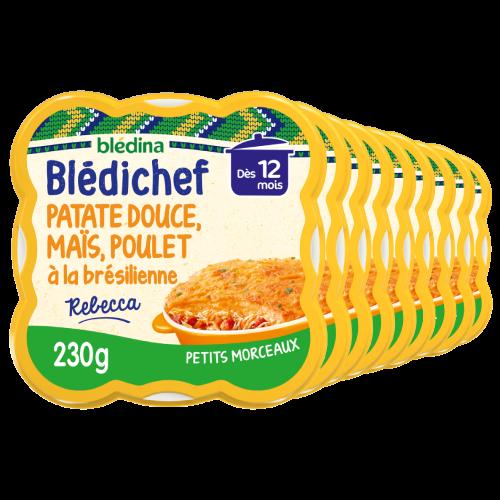 Blédichef - Purée de Patate douce & Maïs, Poulet à la Brésilienne - Lot x9