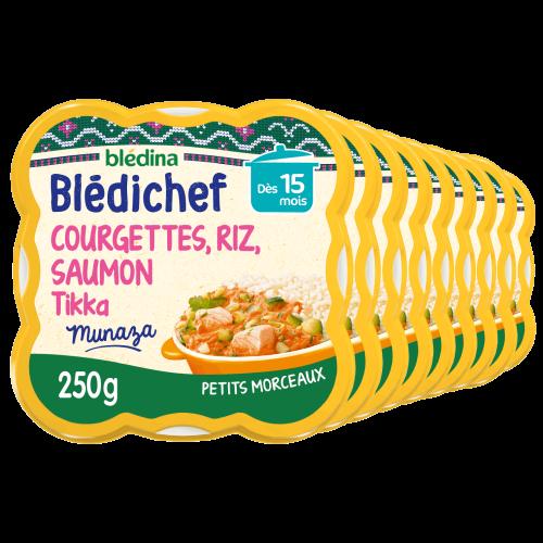 Blédichef - Courgettes, Riz, Saumon façon Tikka - Lot x9